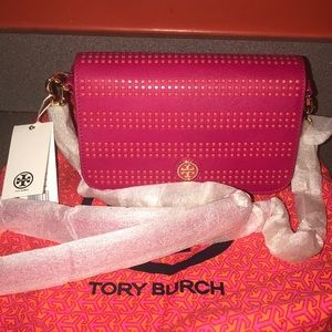 Tory Burch Carnation Coral Perforated Robinson